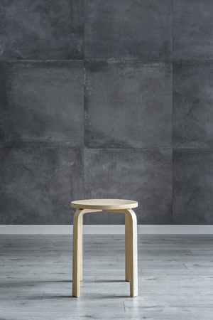 wooden floors: Interior with modern cement wall and simple wooden stool