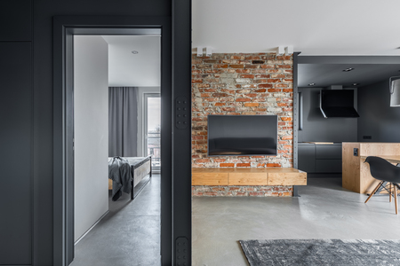 Modern apartment in gray with bedroom, living room and kitchen