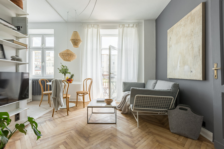 Cozy home in scandinavian style with tv living room