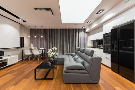 couch: Home interior with sofa, table, projector screen and modern, open kitchen