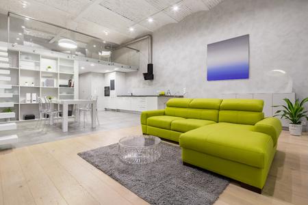Appartamento mansardato con soppalco, divano verde, angolo cottura e soffitto in mattoni