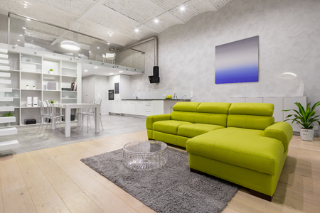 Loft apartment with mezzanine, green sofa, kitchenette and brick ceiling Standard-Bild