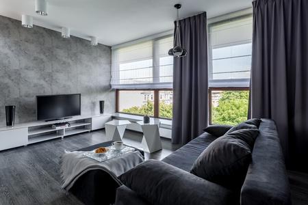 Nowoczesny salon telewizyjny z kanapą, nowocześnie zaprojektowanym stolikiem kawowym i dużymi oknami