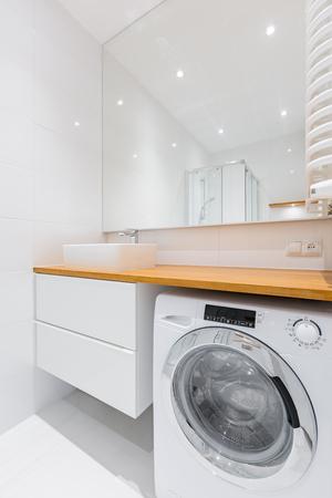 Lavadora Con Lavabo.Bano Moderno Blanco Y Negro Con Lavadora Y Lavabo Fotos