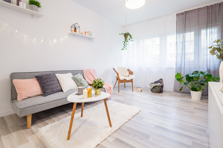 Sofa with pillows, coffee table and shaggy rug in scandinavian living room