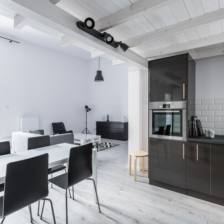 Kitchenette and dining space in open plan apartment Archivio Fotografico