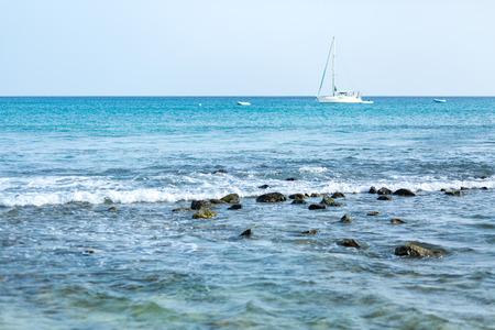 Sailboat on beautiful blue ocean near Cabo Verde Cape Verde islands Reklamní fotografie