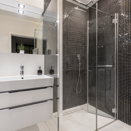 Bathroom in black and white with walk in shower Imagens