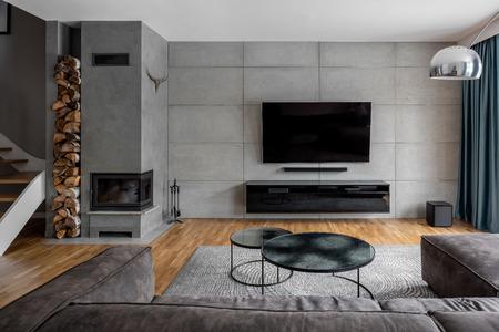 Sala de TV con pared de cemento y chimenea de pared.