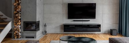 Salon telewizyjny z cementową ścianą i kominkiem naściennym, panorama