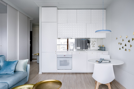 Contemporary apartment interior with functional, open white kitchen area