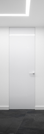 Vertical panorama of home interior in white with simple door
