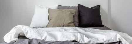 Panoramic view of single bed with decorative pillows