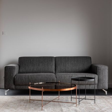 Interieur met grijze bank en metalen salontafel Stockfoto