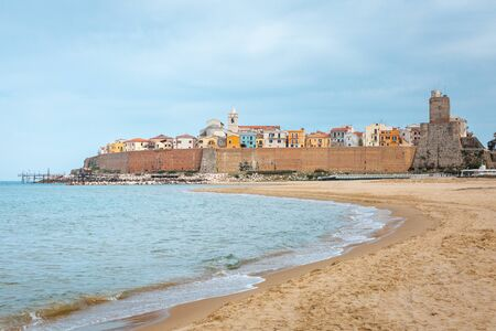 Amazing view of Termoli city in Italy from golden beach at adriatic sea Standard-Bild