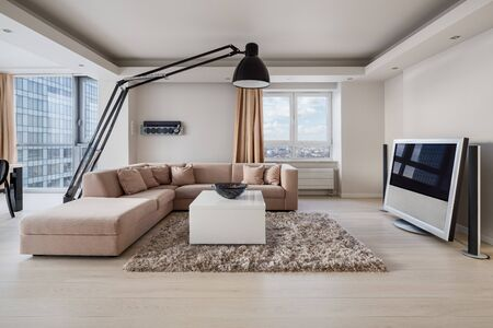 Luxury decorated living room interior with big corner sofa and large lamp
