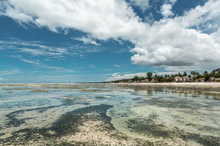 Amazing view of tropical beach and low tide on Indian Ocean at Zanzibar island