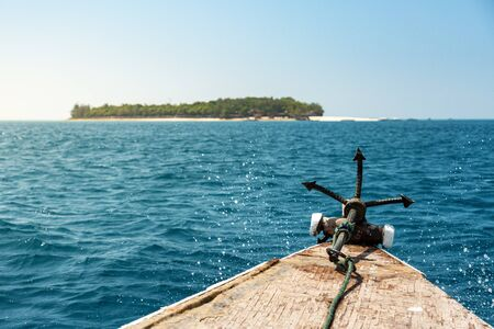 View from old wooden boat on Prison Island on Indian Ocean near Zanzibar Imagens