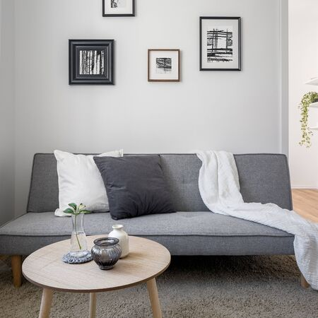 Home interior with scandinavian style sofa and wooden coffee table
