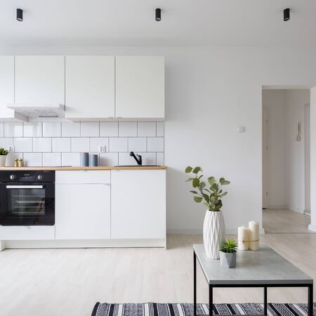 Modern studio apartment in white with functional kitchenette Stock Photo