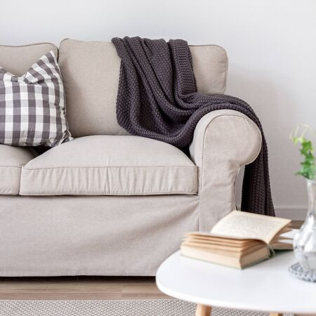 Home interior with simple beige sofa and coffee table