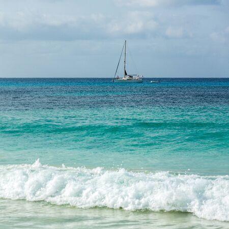 Yacht on azure water of Atlantic Ocean near Sal, Cape Verde, Cabo Verde