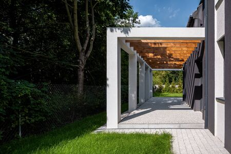Amazing architecture design, modern patio with cobblestone on a side of new house Stock fotó