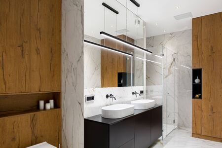 Stylish bathroom interior in wood and marble with two basins and big shower