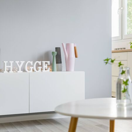 Cozy flat with white cabinet and decorations in scandinavian style Banco de Imagens - 137790512