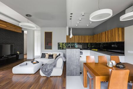 Elegant interior of living room with kitchen and dining area Stock fotó