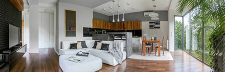 Panorama of elegant apartment with big window wall and kitchen open to living room