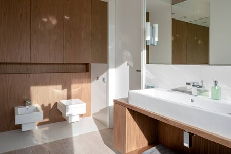 Bathroom with long washbasin, wooden furniture and square toilet and bidet