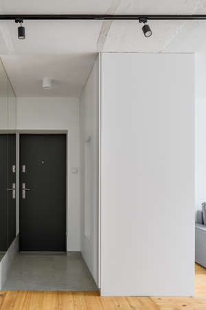 Simple white apartment corridor with mirror wall, black doors and concrete ceiling