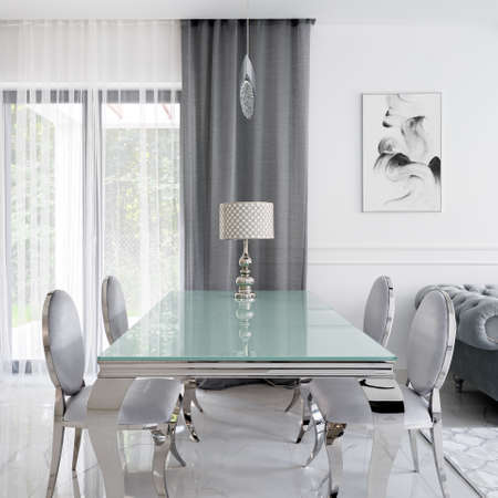 Glamor style glass and silver dining table with stylish chic chairs and charming lamp Imagens