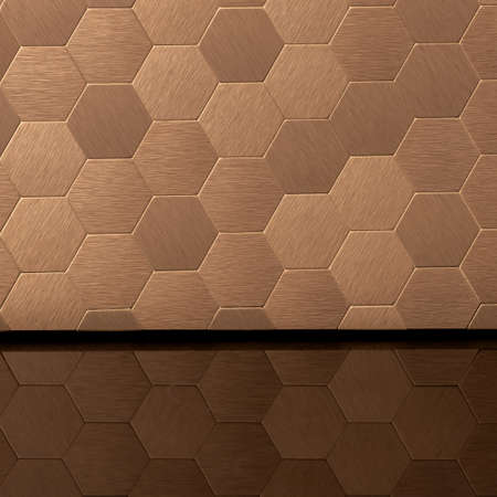 Close-up on stylish golden hexagonal wall tiles with different texture and black mirrored countertop