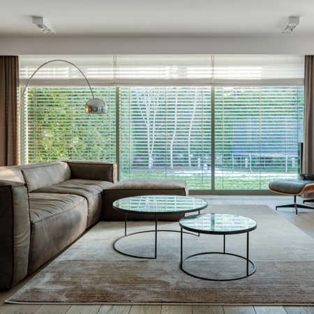 Window wall with blinds in elegant living room with big corner sofa, modern coffee tables and stylish carpet