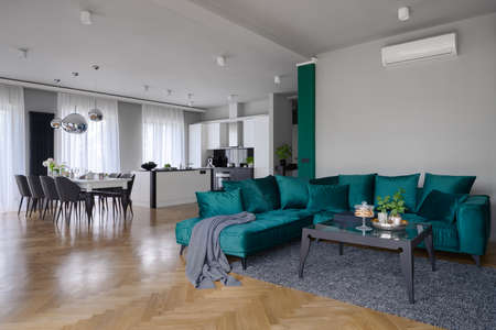 Spacious apartment with beautiful kitchen with dining table and elegant living room with stylish green corner sofa and modern coffee table Imagens