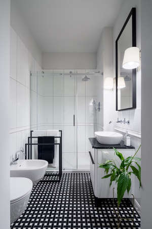 Elegant black and white bathroom, with stylish floor, big mirror in black frame and shower behind glass wall Imagens