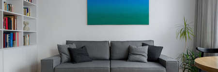 Panorama of modern living room with white walls, white bookcase, art and stylish gray couch in the middle Imagens