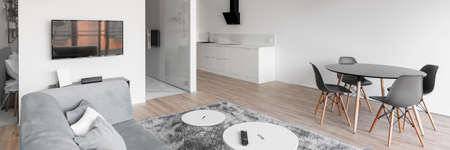 Panorama of stylish white and gray apartment with kitchen, living room and dining area in one room Imagens