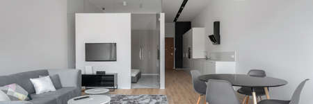 Panorama of modern designed open plan apartment with corridor, kitchen, dining area and living room in one space and bedroom behind glass doors