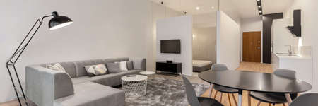 Modern and stylish open plan loft apartment with living room, dining area and kitchen in one room and bedroom behind glass wall