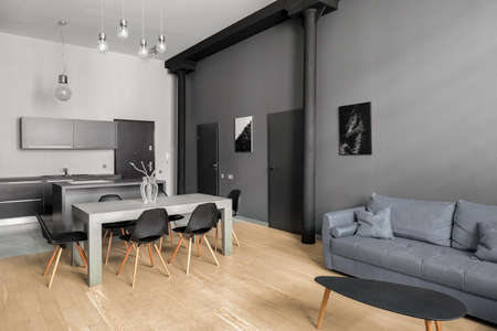 New designed apartment with white and gray walls, wooden floor and gray furniture