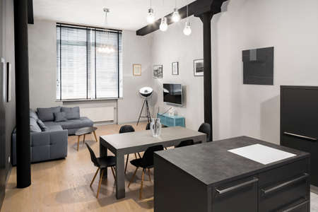 Stylish loft apartment with decorative black pillars and living room with dining table Imagens