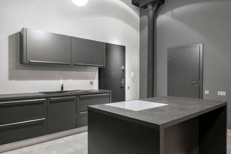 Simple kitchen interior with stylish gray cupboards, countertops and drawers and white and gray walls Imagens