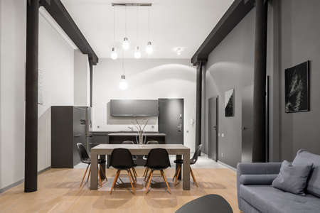 Stylish loft apartment with kitchen and dining area open to living room Imagens