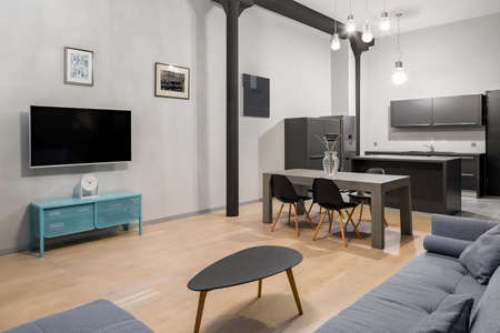 Stylish loft apartment with living room with tv open to kitchen with dining table
