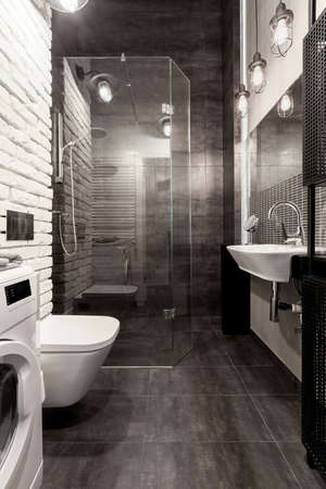 Elegant bathroom with shower behind glass wall, white brick and dark gray tiles Stock fotó