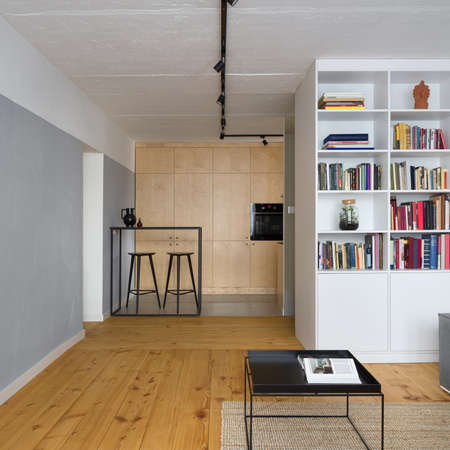 Small apartment with kitchen open to living room with exposed concrete on ceiling and walls and wooden floor