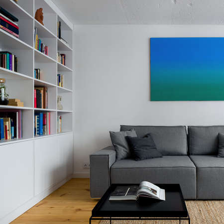 Simple and comfortable living room with white walls, gray sofa, white bookcase, black coffee table and art